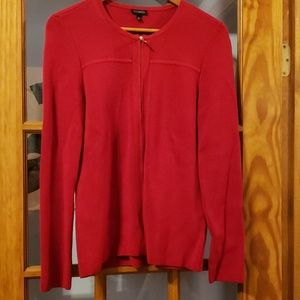 Talbots Red zip front cardigan small